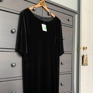 NWT Lands' End Black Velvet Dress